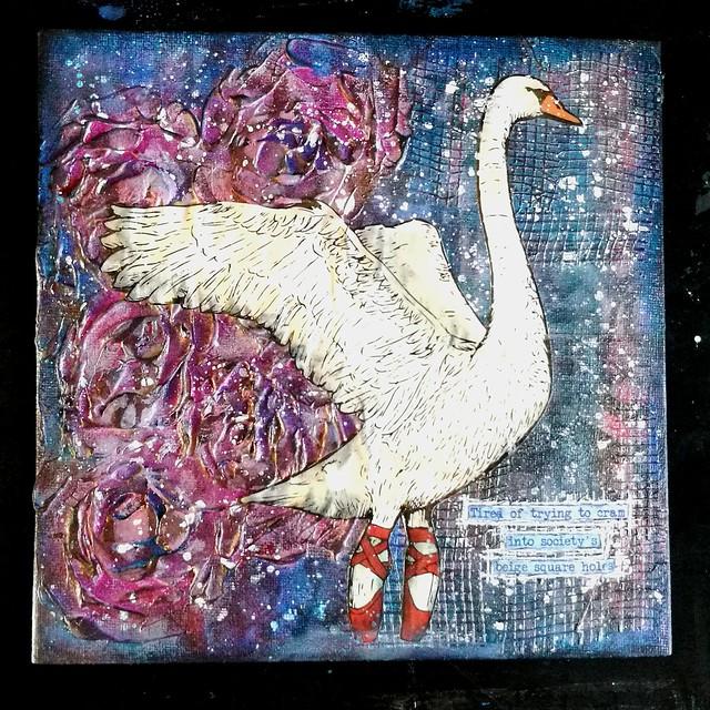 Ballerina swan in roses