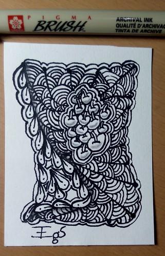 ATC exercício do dia 11 do livro Desenho Zen meditando com lápis e papel