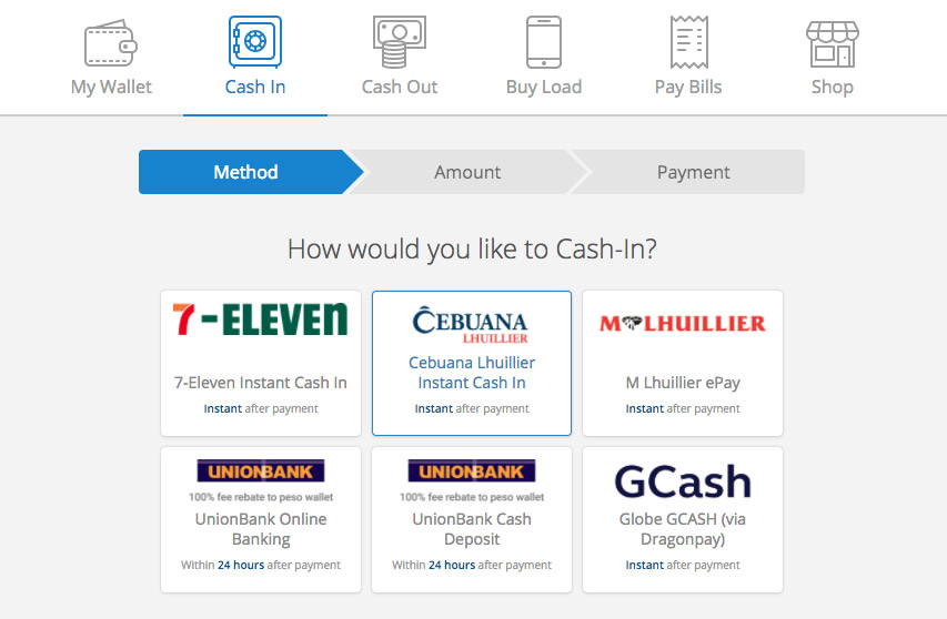 Coins.ph Cash In options