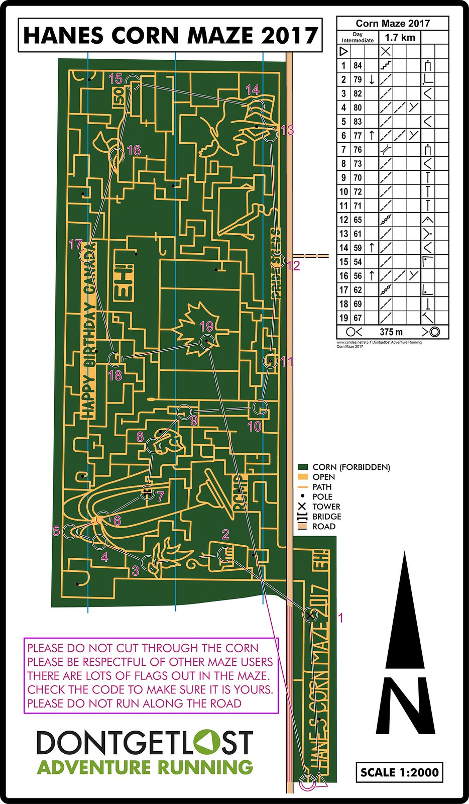 Day Intermediate Corn Maze 2017 Map