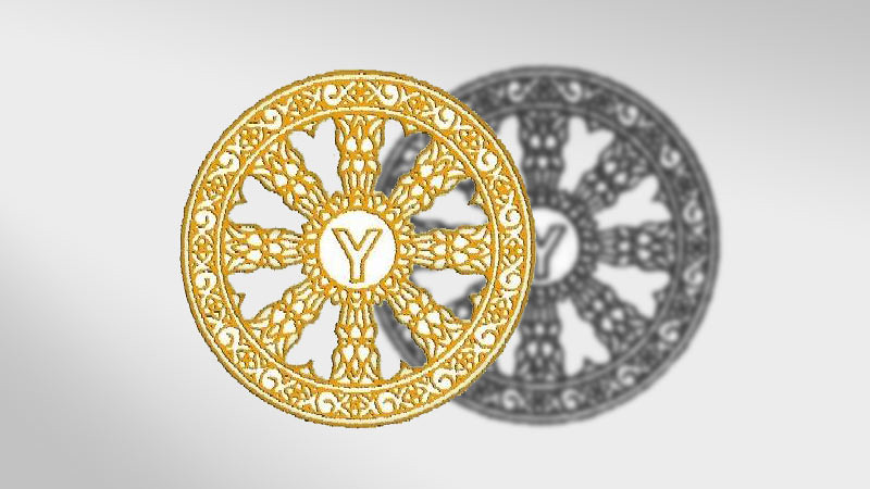Logo Persaudaraan Pemuda Buddhis Sedunia (World Fellowship of Buddhist Youth – WFBY) dan bayangannya.