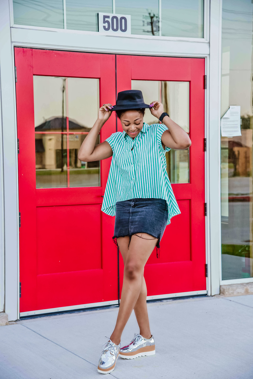 how to style a striped button down, Candace Hampton