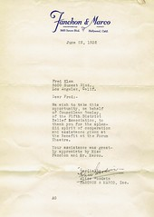 """1932 Letter to Fritz """"Slim"""" Klem from Alice Goodwin of Fanchon & Marco, Inc."""