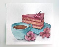 Tea & Cake Watercolor