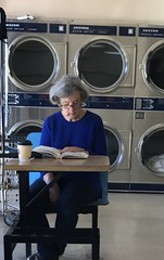 Reading at the laundromat