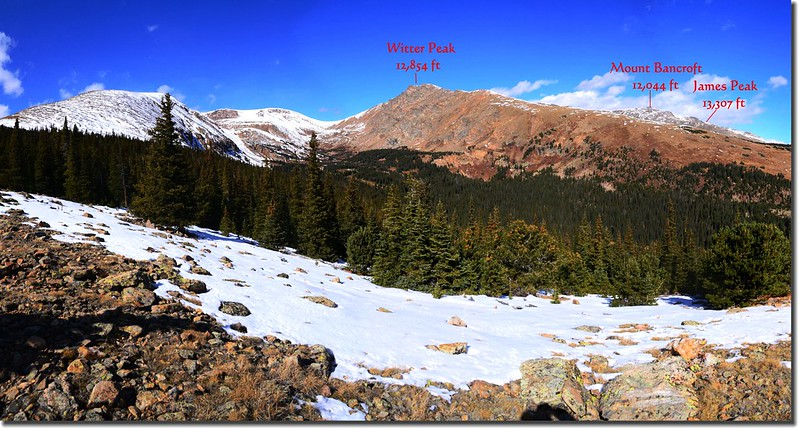 Looking Northwest at James Peak et al from Bill Moore Lake Trail near 11,400' (1)-1