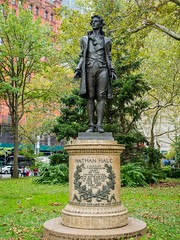 Nathan Hale Monument (1893) by Frederick MacMonnies, City Hall Park, New York City