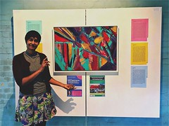 Me with some of my #abstract #paintings at Brighter Berkshire's group art show earlier in the year :) #groupartshow #mentalhealthart #rdguk