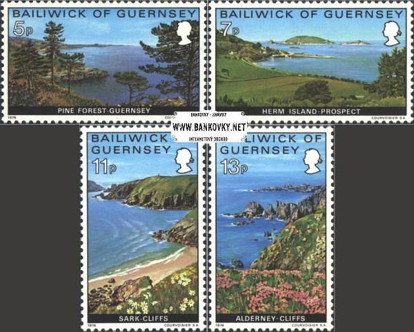 Známky Guernsey 1976 Krajina v Guernsey, razítkovaná séria