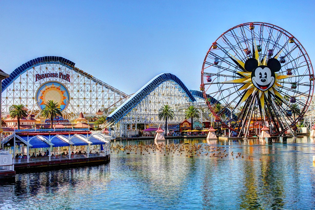 Long view of Paradise Pier at Disney California Adventure