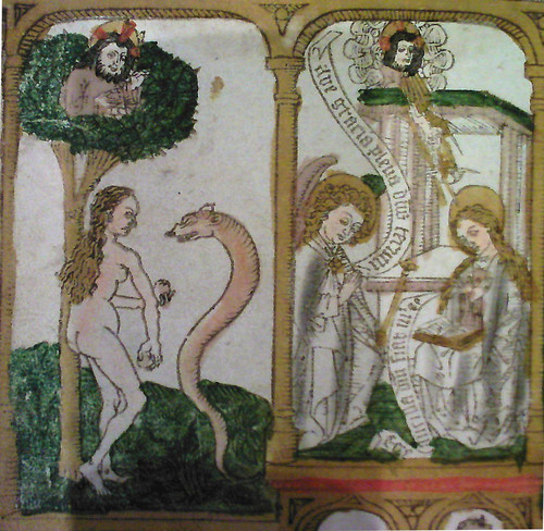 Adam and Eve Detail (Biblia Pauperum, 1464 Flemish MS, Biblioteque Royale, Brussels)
