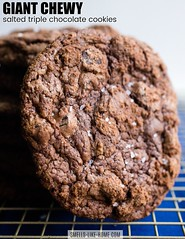 Giant Chewy Salted Triple Chocolate Cookies