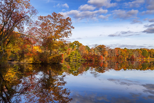 autumn pond westbrookpond longisland newyork reflection fall fallfoliage fallcolors symmetry rpg90901 landscape sky clouds trees water canon 6d canonef24105mmf4lisusm polyrhythm threeagainsttwo 32 hemiola morning greatriver suffolkcounty ny foliage