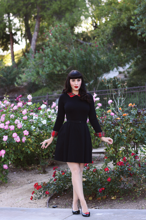 Smak Parlour Black Long Sleeve Fit And Flare Dress With Plaid Cuffs And Collar