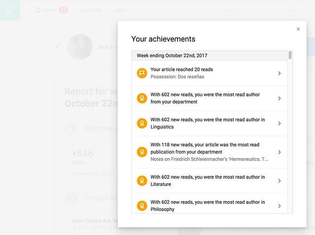 Mis logros en ResearchGate esta última semana