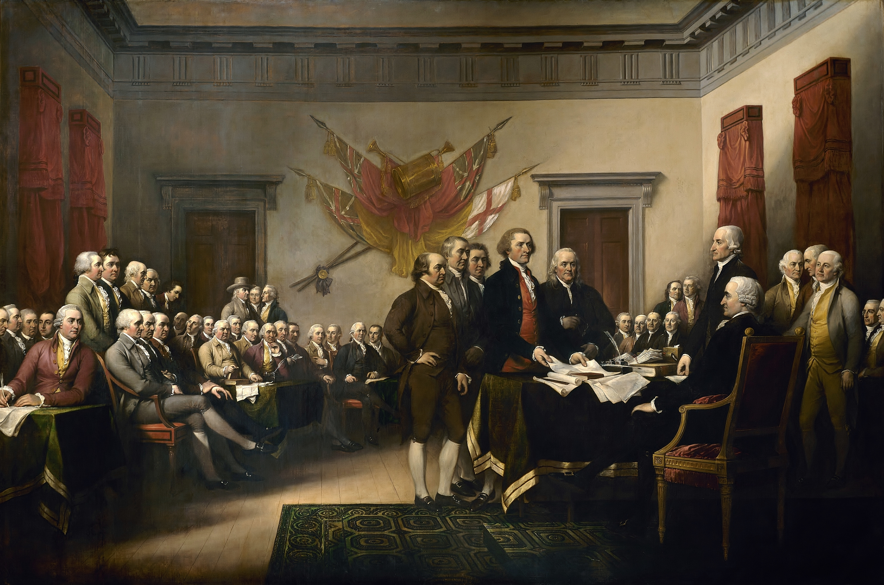 John Trumbull's 1819 painting, Declaration of Independence, depicting the five-man drafting committee of the Declaration of Independence presenting their work to the Congress. The painting can be found on the back of the U.S. $2 bill. The original hangs in the US Capitol rotunda.