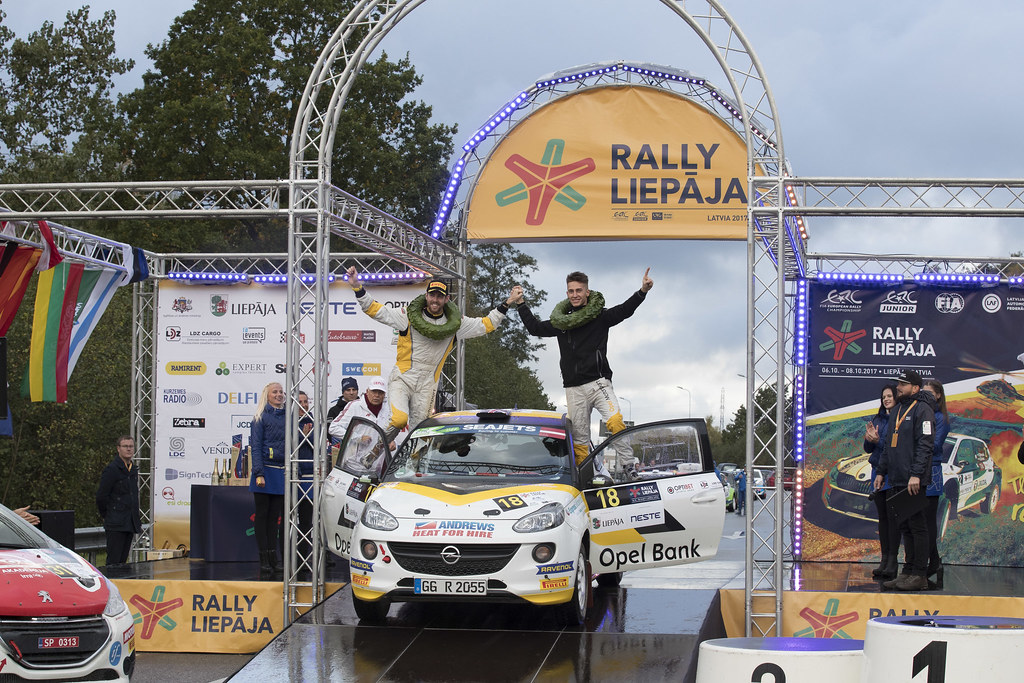 Ingram Chrisand Whittock Ross, Opel Rallye Junior Team, Opel Adam R2 ERC Junior U27 ambiance portrait podium during the 2017 European Rally Championship ERC Liepaja rally,  from october 6 to 8, at Liepaja, Lettonie - Photo Gregory Lenormand / DPPI