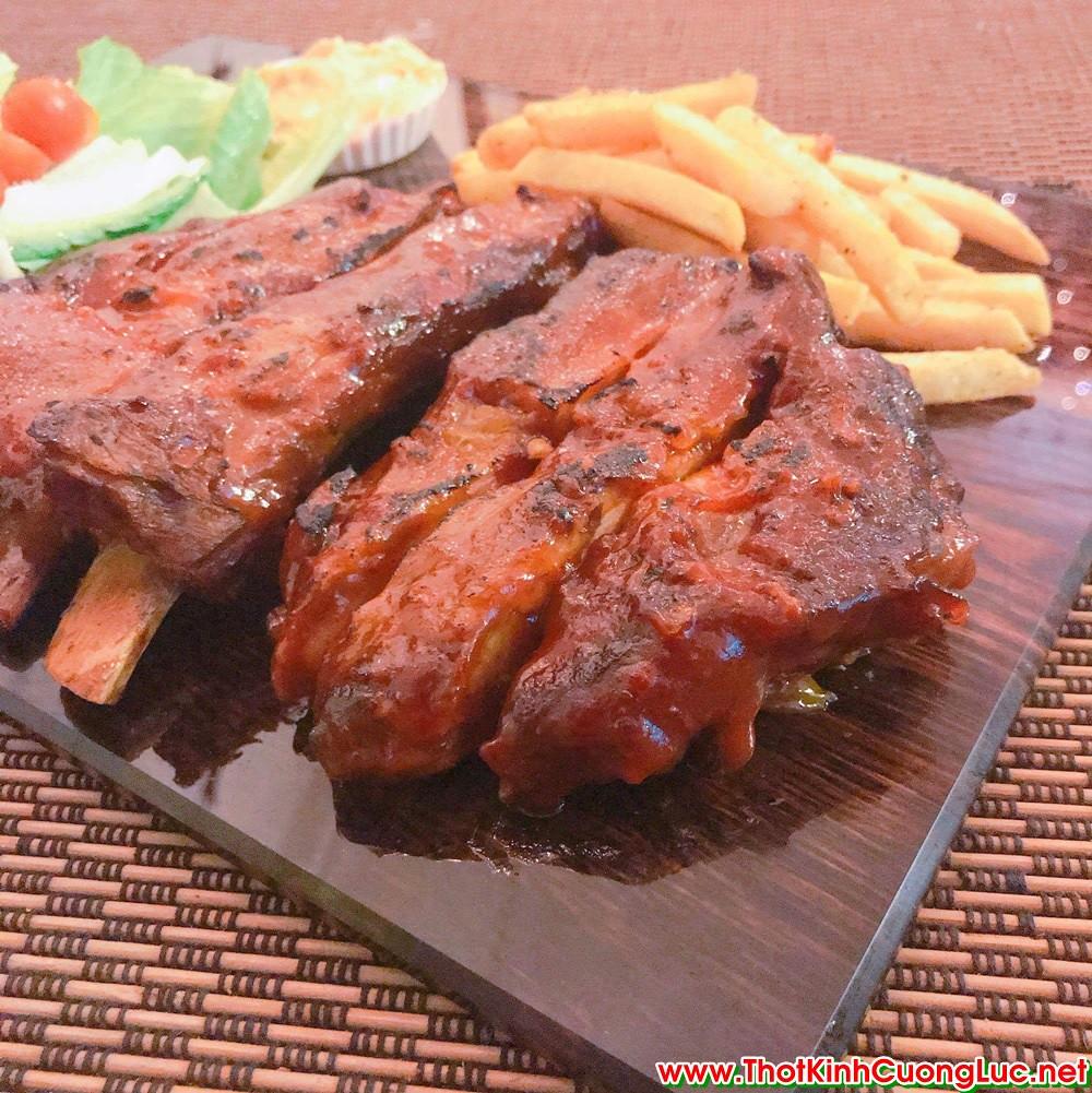 Kính cường lực in tranh/ ảnh/ logo làm dĩa kính bày món ăn quán BBQ