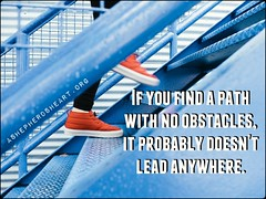 """It would be great if growth or progress along life's path would be packaged so it was be """"easy"""" but that's not how things work.  _ To get to where you're going...you can expect that you'll encounter obstacles and friction along the way as the path of leas"""