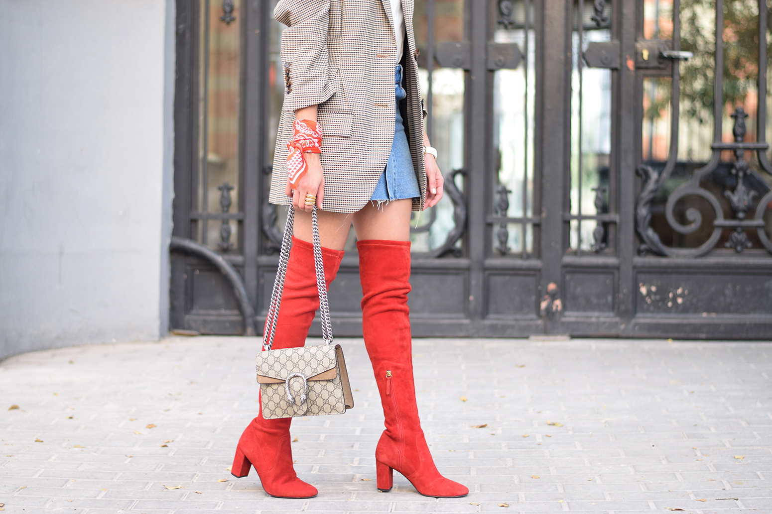 Houndstooth blazer denim skirt gucci bag red over the knee boots autumn outfit style fashion19