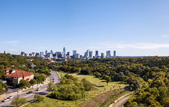 Austin downtown and Lamar Boulevard, view from Pease Park
