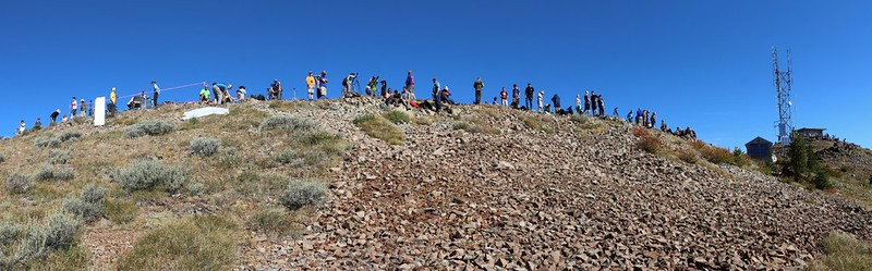 Panorama shot of the Dixie Butte summit ridge about an hour before the solar eclipse - lots of people