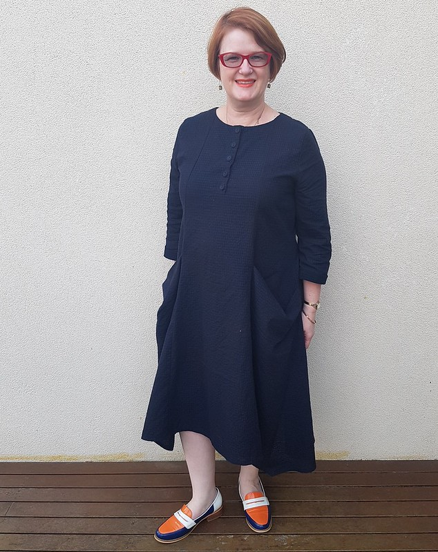 Style Arc Winsome dress in cottonish seersucker from Darn Cheap Fabrics $2 table