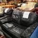 2 seater black leather sofa E150