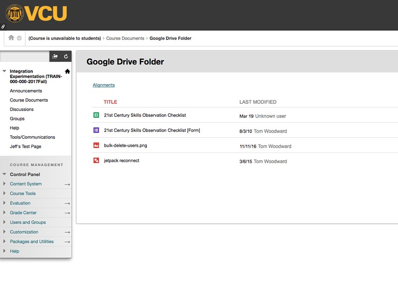 Google drive folder embedded in blackboard