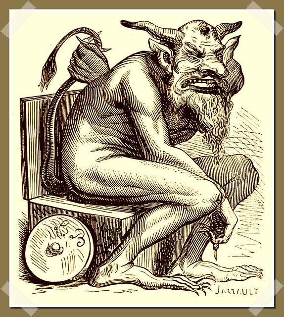 Belphegor as depicted in Collin de Plancy's Dictionnaire Infernal, 1863 edition.