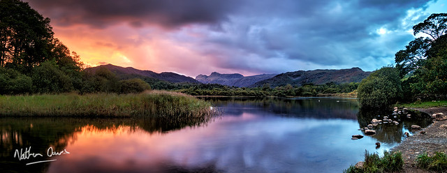 Elterwater and the Langdales at Sunset
