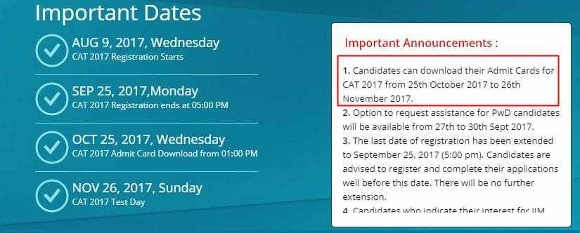 CAT Admit Card 2017