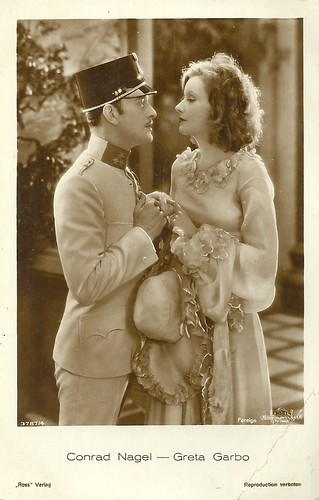 Greta Garbo and Conrad Nagel in The Mysterious Lady (1928).