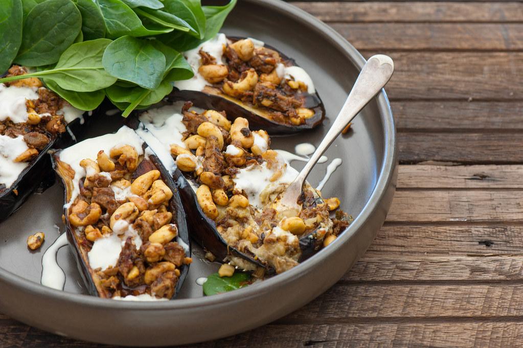 Curry Stuffed Eggplant with Yoghurt--3
