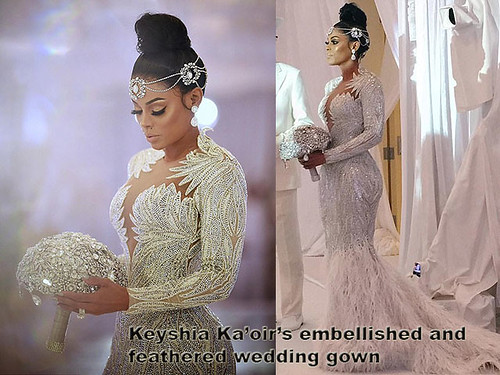 Keyshia-Ka'oir's-embellished-and-feathered-wedding-gown