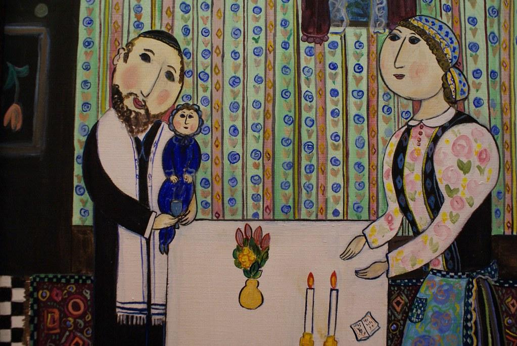 Peinture de Dora Holzhandler représentant les bougies du shabbat. Musée des religions à Glasgow.