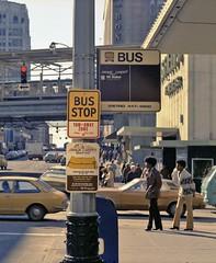 TBT: 1975 Metro Magic Carpet Service Stop. Ride Free Bus Stop