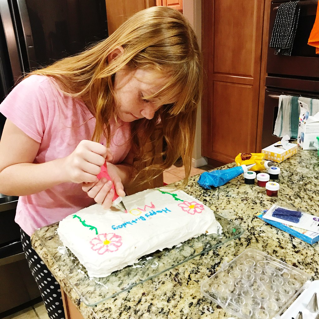 decorating a cake