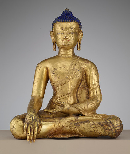 The Historical Buddha Central Tibet, 14th century Gilt copper with pigment. freersackler.si.edu