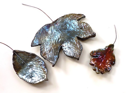 Raku leaves from Kiln Fired Art