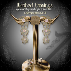 Webbed Earrings - Champagne-Gold
