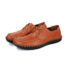 Men Casual Leather Outdoor Comfortable Flat Lace Up Round Toe Oxfords Shoes (1078889) #Banggood