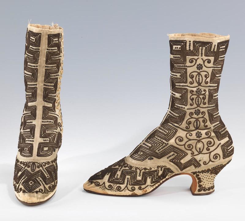1890 Eveing boots. French. Silk, metla. metmuseum