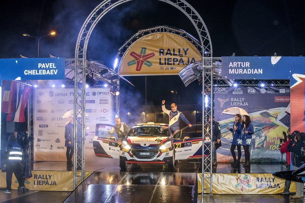 27 Muradian Artur and Chelebayev Pavel, Neiksans Rally Sport, Peugeot 208 R2 action during the 2017 European Rally Championship ERC Liepaja rally,  from october 6 to 8, at Liepaja, Lettonie - Photo Gregory Lenormand / DPPI