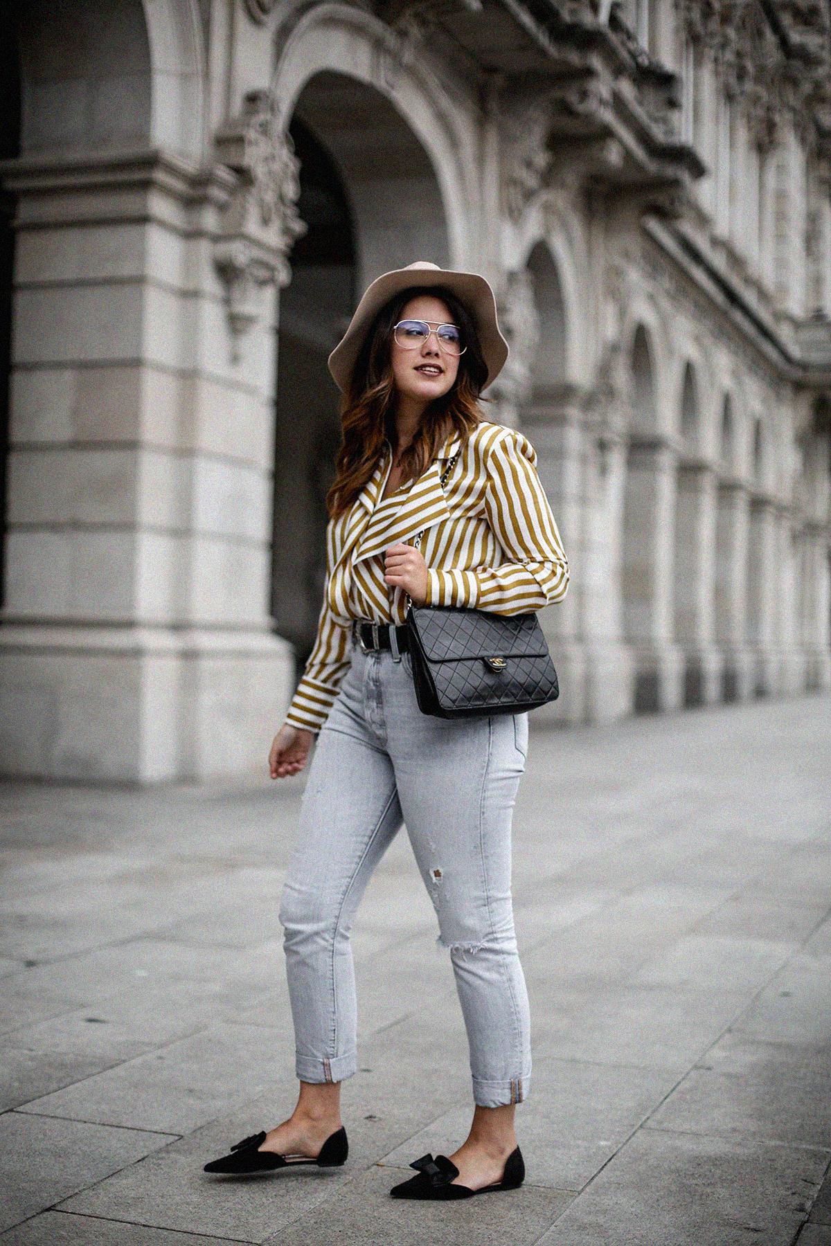 blusa rayas mostaza zara levis skinny 501 streetstyle6
