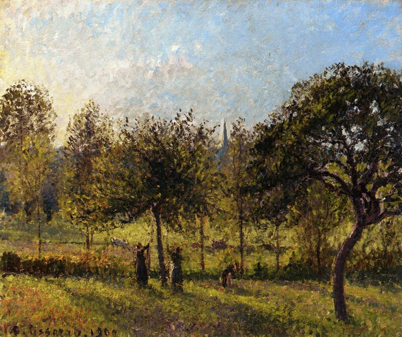 Setting Sun, Autumn in Eragny by Camille Pissarro, 1900