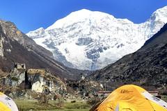Trekkingroute im Himalaya, Bhutan, Basislager am Chomolhari, 7326 m. Foto: Dr. Karl Gabl.
