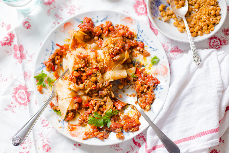 Mushroom Bolognese with Chickpea Crumble