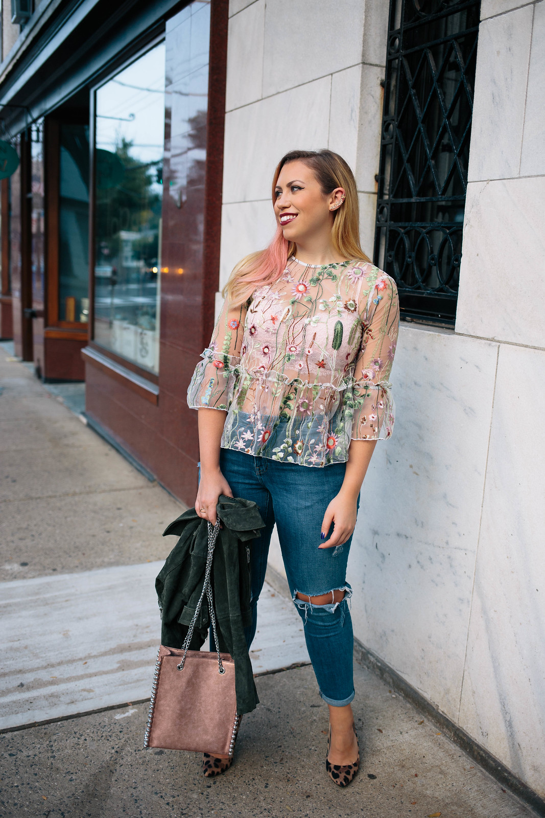 How to Wear a Sheer Top Embroidered Blouse Fall Ripped Jeans Leopard High Heel Pumps