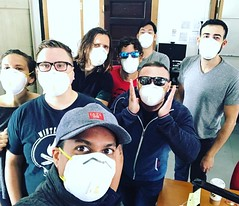 Co-workers keeping the smoke out. #missionstreet #sanfrancisco @missionlocal @missionresident #californiafires